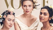 Critics slam Vogue's 'global talent' cover starring Scarlett Johansson: 'They still place the white woman in the center'