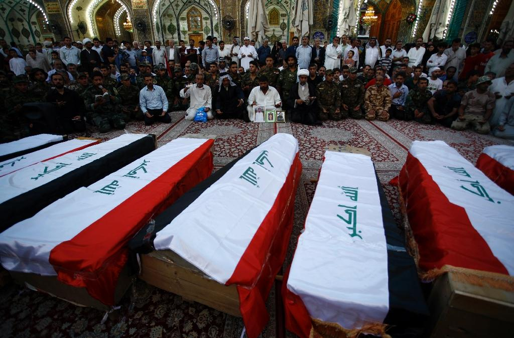 """The """"Speicher"""" massacre, named after a base near Iraq's Tikrit where up to 1,700 military recruits were kidnapped before being executed by Sunni jihadists and allied militants (AFP Photo/Haidar Hamdani)"""