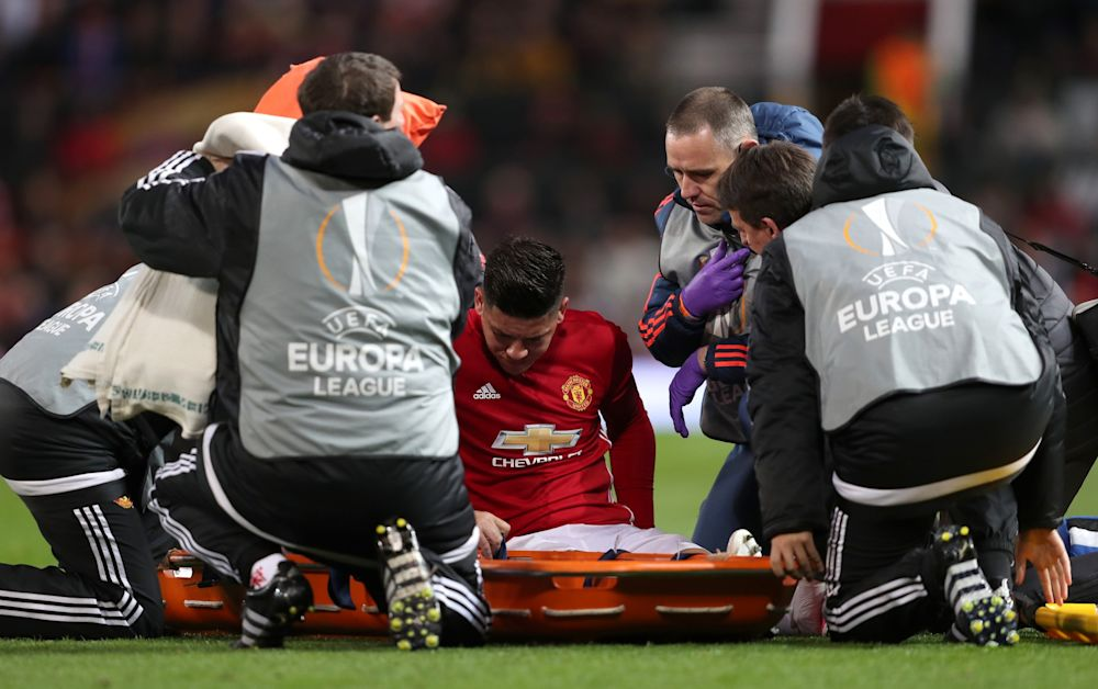 Marcos Rojo goes off injured