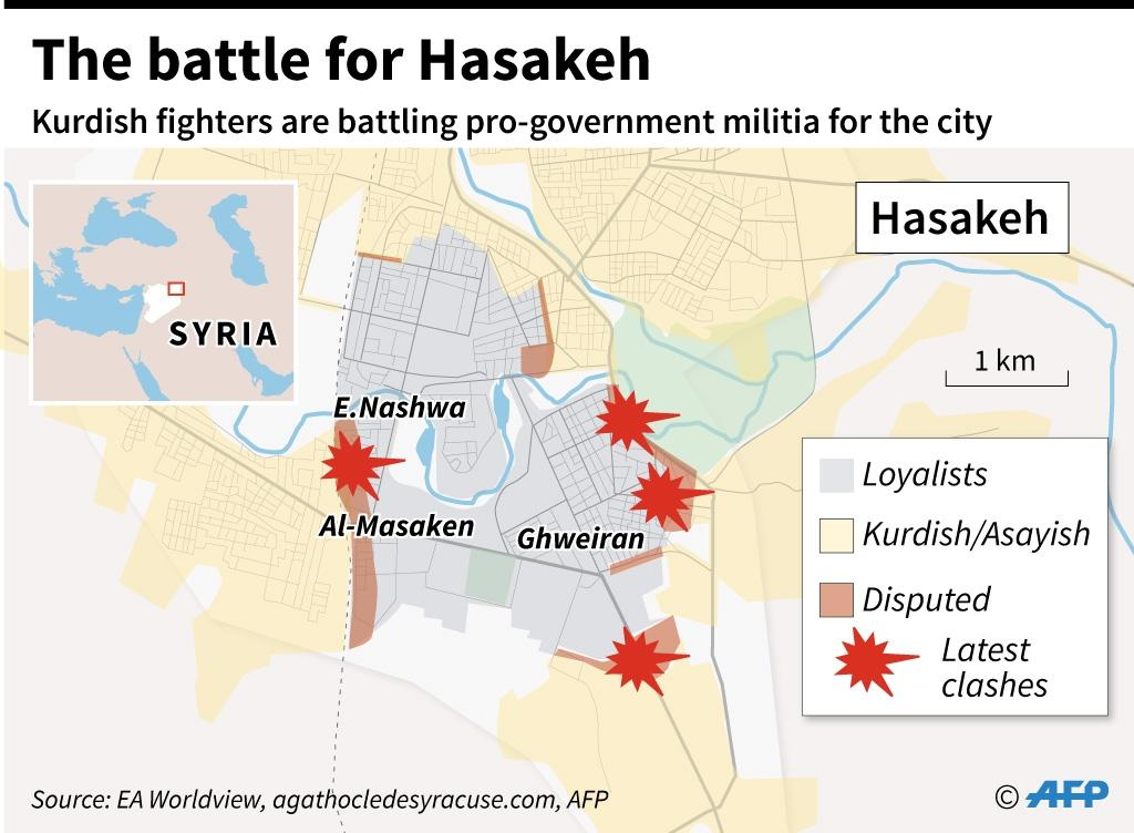 Map of the northern Syrian city of Hasakeh, where fighting broke out between Kurdish and regime forces (AFP Photo/Jean Michel Cornu)