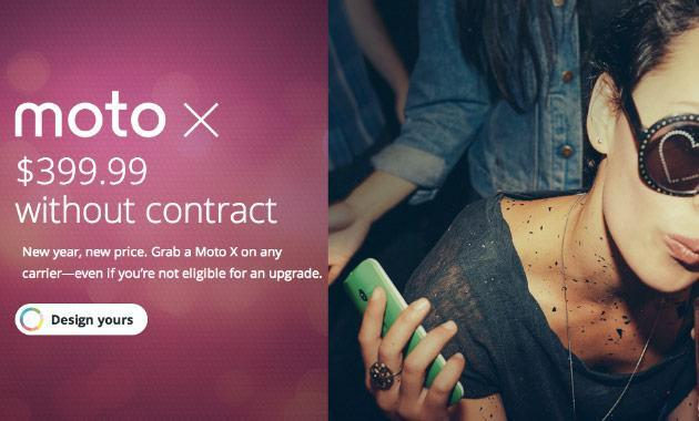 Motorola's New Year's resolution is to sell more smartphones, drops unlocked Moto X to $400