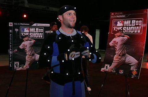Dustin Pedroia dons the mo-cap suit for MLB 09 The Show