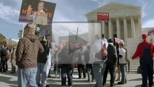 ECA rally before the Supreme Court violent game hearing captured on video