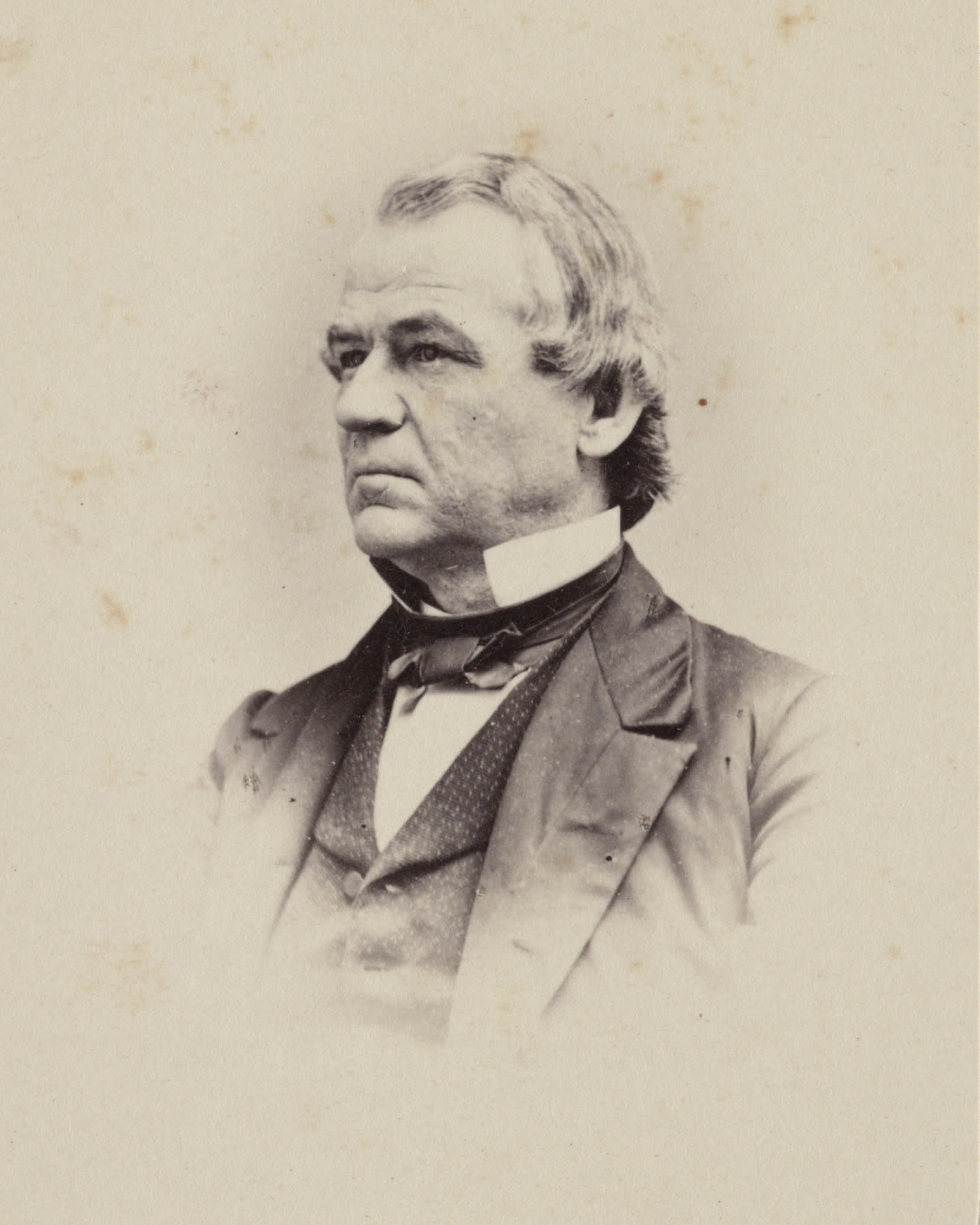 This 1860-1875 photo made available by the Library of Congress shows Andrew Johnson. Johnson, a Democrat, became vice president under Republican Abraham Lincoln on a unity ticket elected amid the Civil War in 1864. He became president after Lincoln's assassination in April 1865. (Library of Congress via AP)