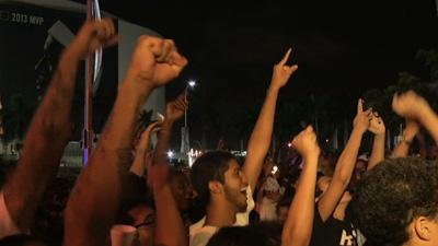 Fans Party in Miami After Heat Win Championship