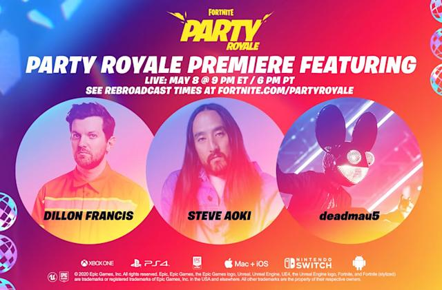 Fortnite officially kicks off 'Party Royale' with deadmau5 and Steve Aoki