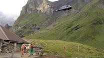 Cow Gets Airlifted by Helicopter out of Swiss Alps
