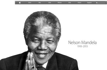 Home page of Apple.com displays Mandela tribute