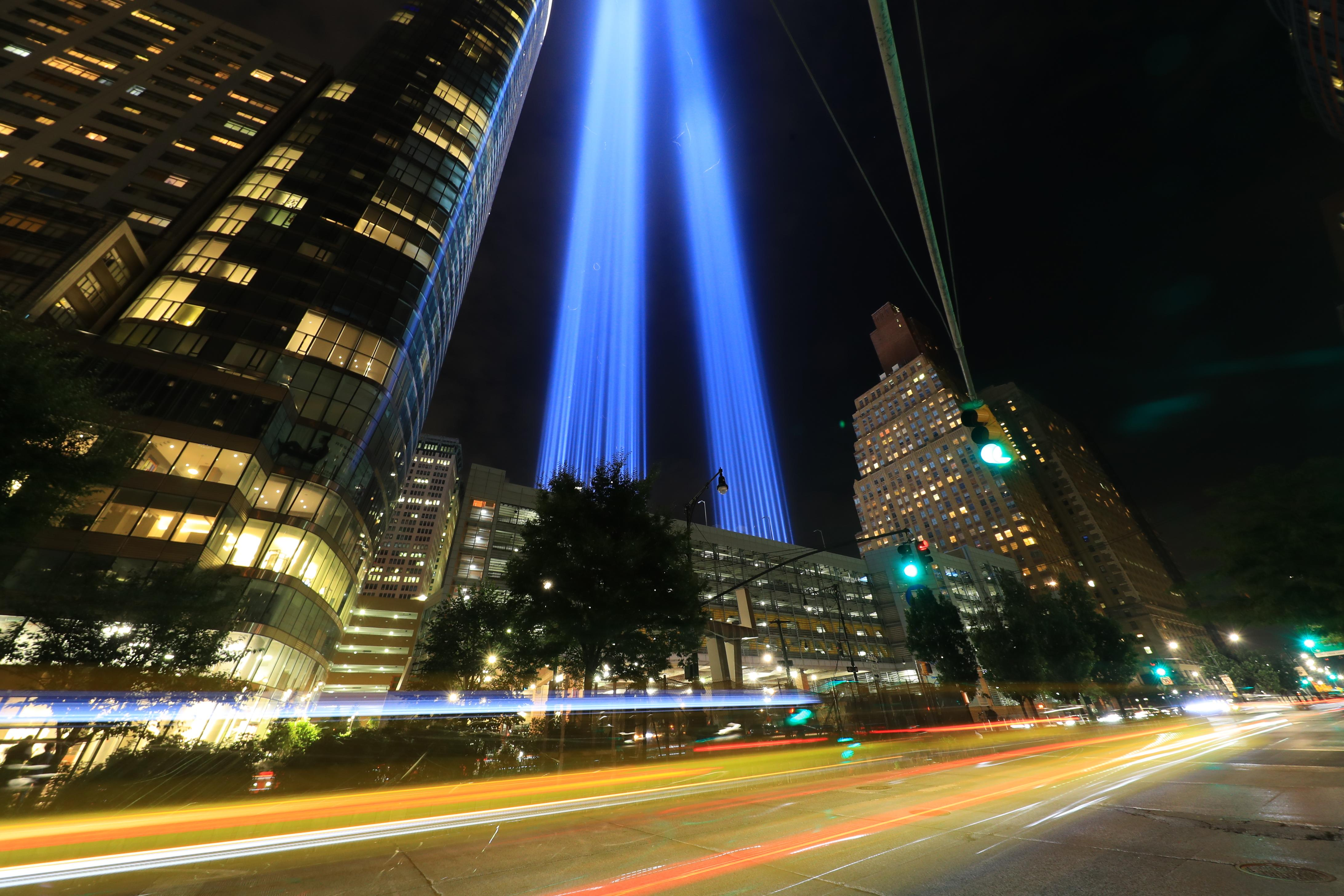<p>The Tribute in Light rises above the New York skyline from West Street on Sept. 11, 2018. (Photo: Gordon Donovan/Yahoo News) </p>
