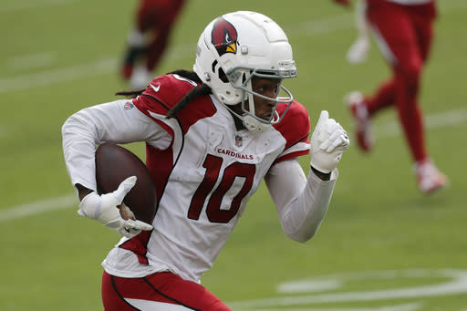 FILE - In this Sunday, Sept. 13, 2020, file photo, Arizona Cardinals wide receiver DeAndre Hopkins (10) runs the ball upfield during the second half of an NFL football game the San Francisco 49ers in Santa Clara, Calif. The Cardinals are a team on the rise, with star receiver DeAndre Hopkins is making the folks in Houston shake their heads in wonder about that trade. (AP Photo/Josie Lepe, File)