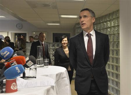 Former Norwegian prime minister Jens Stoltenberg addresses the media in Oslo, after NATO ambassadors chose him to be the next head, March 28, 2014. REUTERS/Fredrik Varfjell/NTB Scanpix