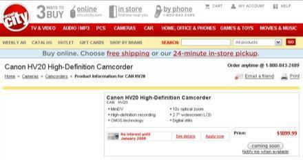 Canon's HV20 HD camcorder leaked?