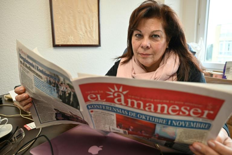 Karen Sarhon is the editor of the El Amaneser monthly which is published entirely in Judeo-Spanish (AFP Photo/Ozan KOSE)