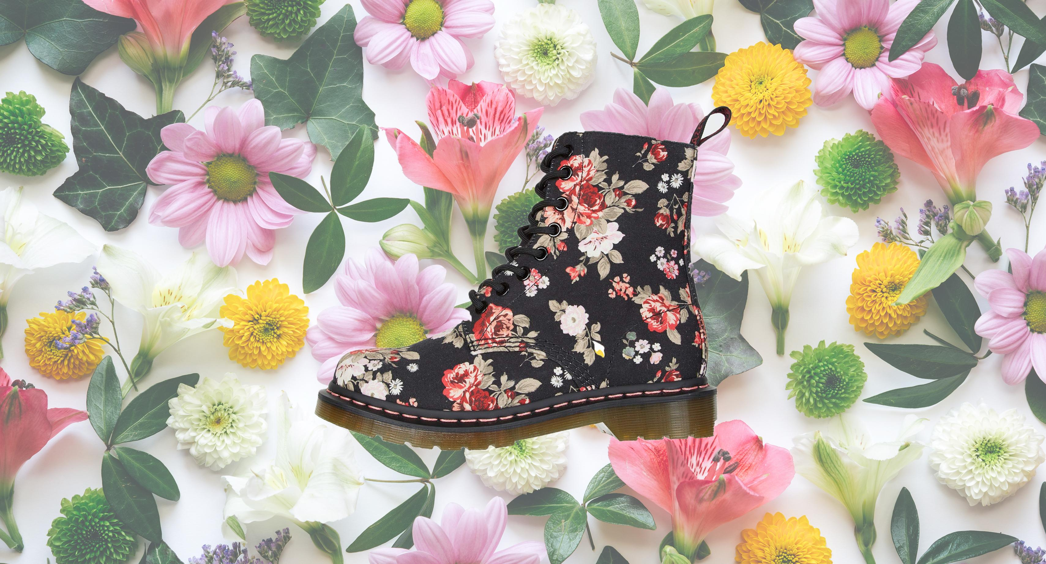 No need to wait for spring to wear these floral Dr. Martens — 45 percent off today only!