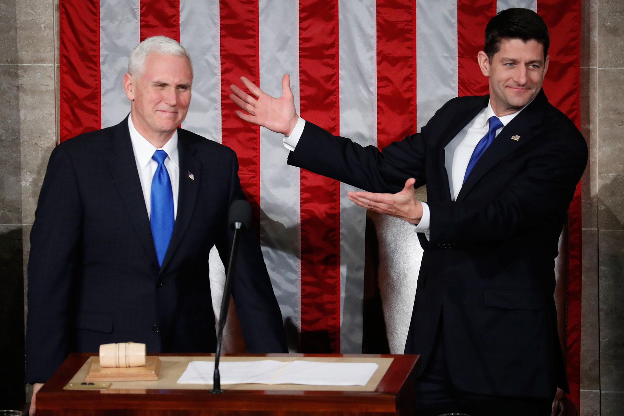 <p>House Speaker Paul Ryan of Wis. gestures toward Vice President Mike Pence on Capitol Hill in Washington, Tuesday, Feb. 28, 2017, prior to President Donald Trump's address to a joint session of Congress. (AP Photo/Pablo Martinez Monsivais) </p>