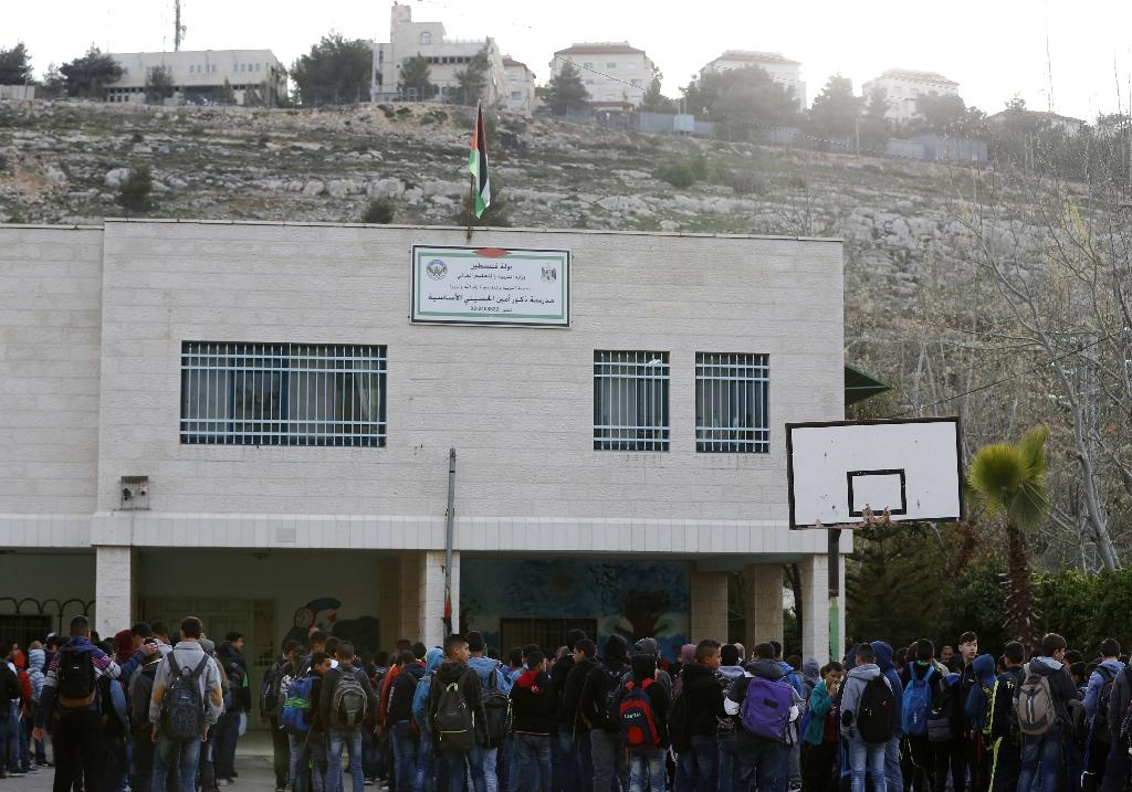 The Amin al-Husseini school in al-Bireh in the occupied West Bank is named for a former grand mufti of Jerusalem, a hero for Palestinians but seen as a Nazi ally by Israelis (AFP Photo/ABBAS MOMANI)