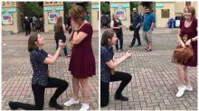 Couple's adorable double proposal surprise goes viral