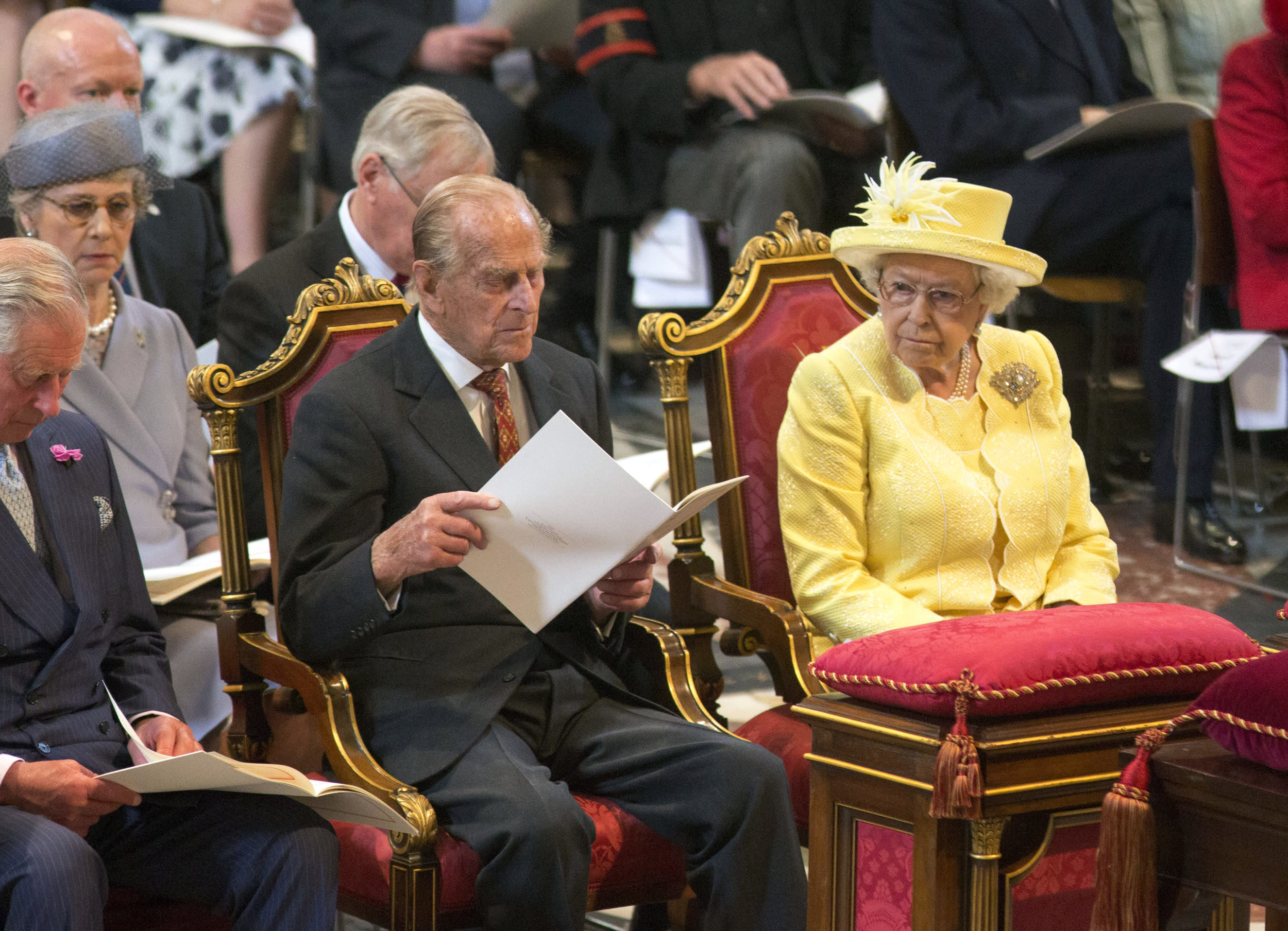 Britain's Queen Elizabeth II and Prince Philip attend a National Service of Thanksgiving to mark the 90th birthday of Britain's Queen Elizabeth II at St Paul's Cathedral in London, Friday, June 10, 2016. Queen Elizabeth II is celebrating her official 90th birthday with a three-day series of festivities starting Friday, on what is also her husband Prince Philip's 95th birthday. The queen's real birthday is in April. (Ian Vogler/Pool Photo via AP)