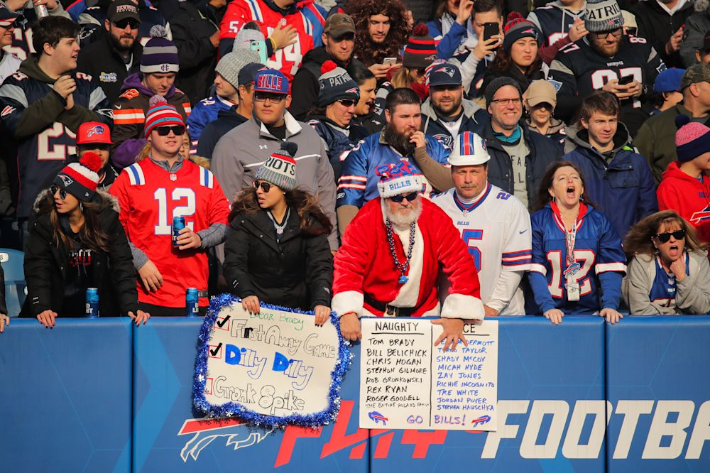 Santa probably wasn't the culprit who tossed a sex toy onto the field in the Patriots-Bills game in Orchard Park, N.Y. (Getty Images)