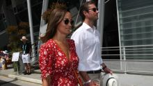 Pregnant Pippa Middleton Hits the French Open in Red Dress & Espadrille Wedges with Husband James Matthews