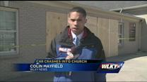 Cleanup underway after car crashes into church