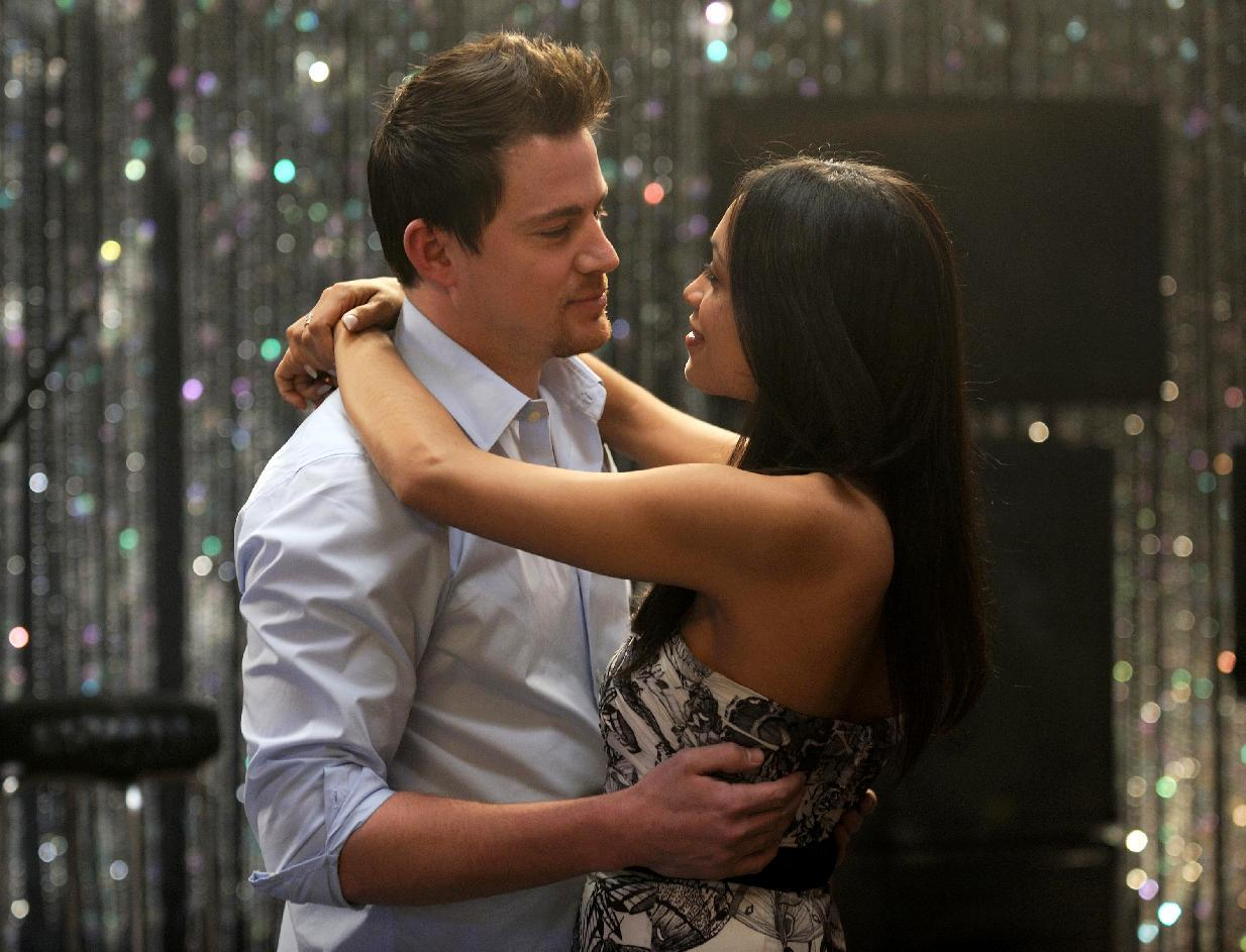 """FILE - This file photo released by Anchor Bay Films shows Channing Tatum, left, and Rosario Dawson in a scene from """"10 Years."""" (AP Photo/Anchor Bay Films, Colleen Hayes, File)"""