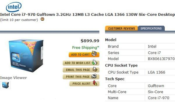 Intel's 3.2GHz hexacore i7-970 now shipping