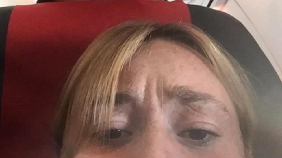 Woman captures disgusting moment in plane selfie