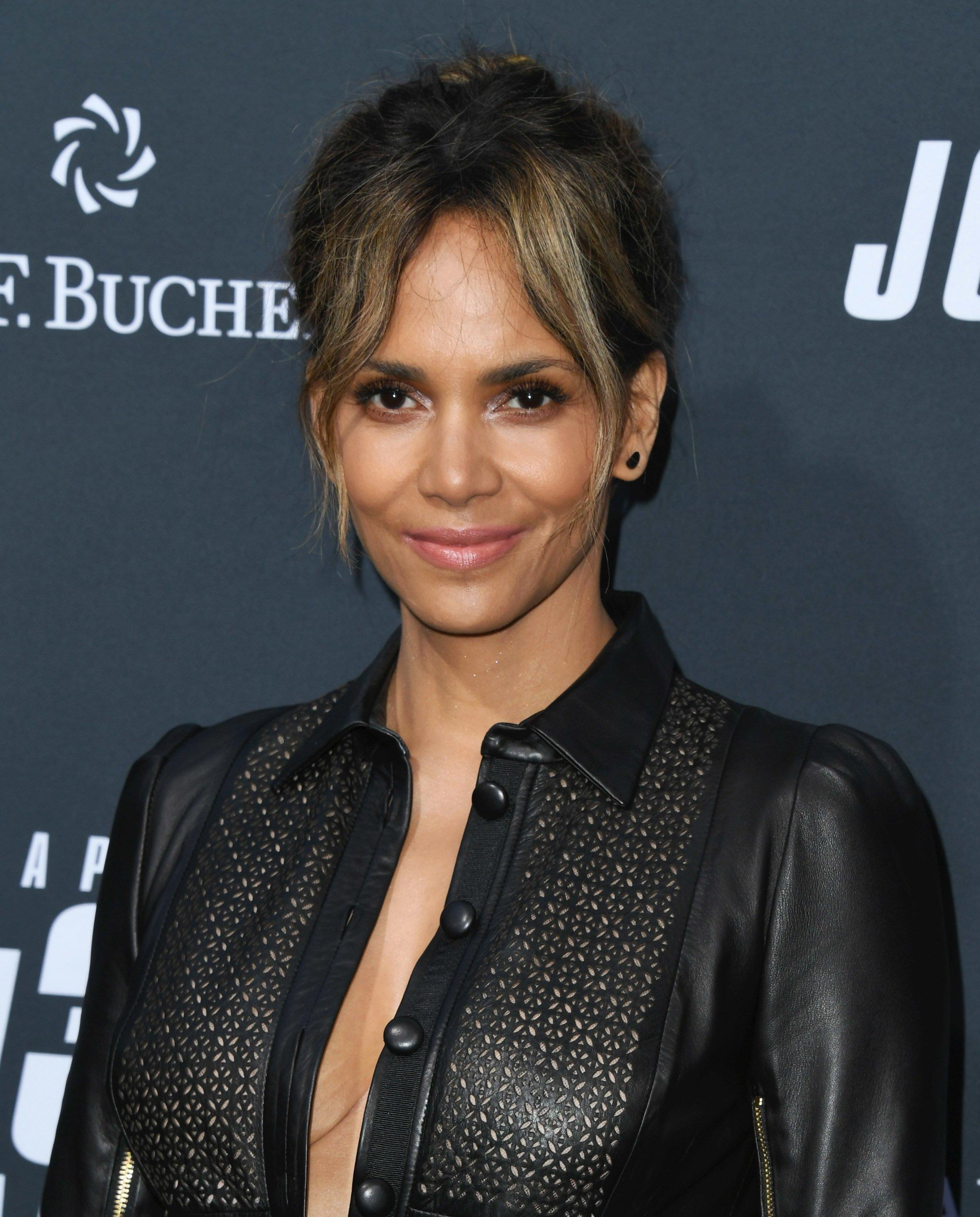halle berry made a catwoman callback in a sheer leather romper