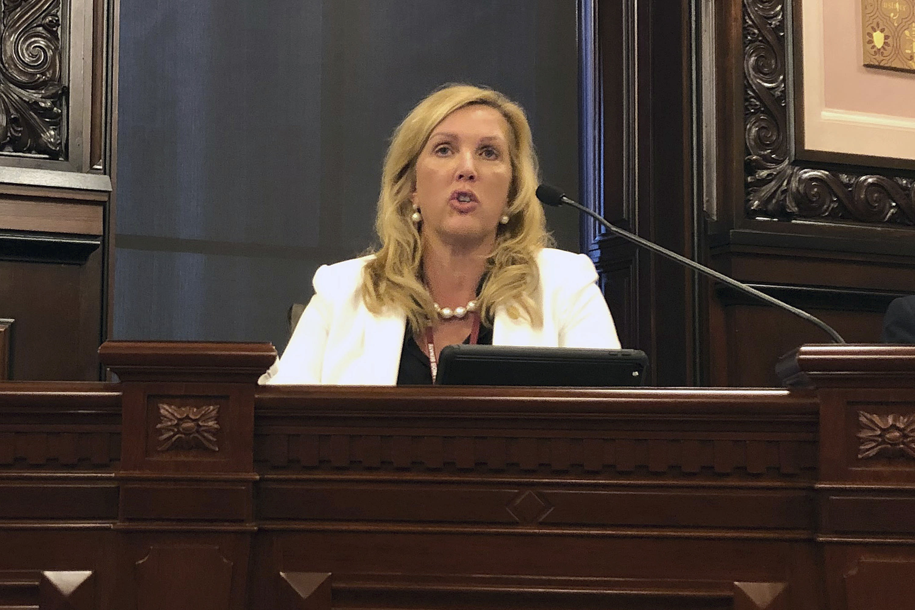 FILE - In this Feb. 6, 2019, file photo, Illinois Sen. Sue Rezin, R-Morris, speaks in Springfield, Ill. More Republican women than ever are seeking House seats this year after the 2018 election further diminished their limited ranks in Congress. But so far it appears that any gains this November could be modest. (AP Photo/John O'Connor, File)
