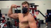 Joseph Baena emulates his dad Arnold Schwarzenegger in new iron-pumping gym pics