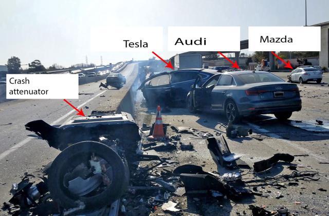 Tesla involved in fatal crash sped up before hitting road barrier