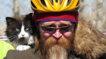 "Cat Loses Weight By ""Riding"" Bicycle"
