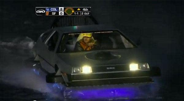 Visualized: DeLorean hovercraft cruises around McCovey Cove, wins the internet