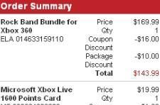 Rock Band bundle and 1600 MS points for $153