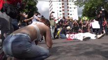 Manifestation au Brésil contre Bolsonaro et en hommage à George Floyd