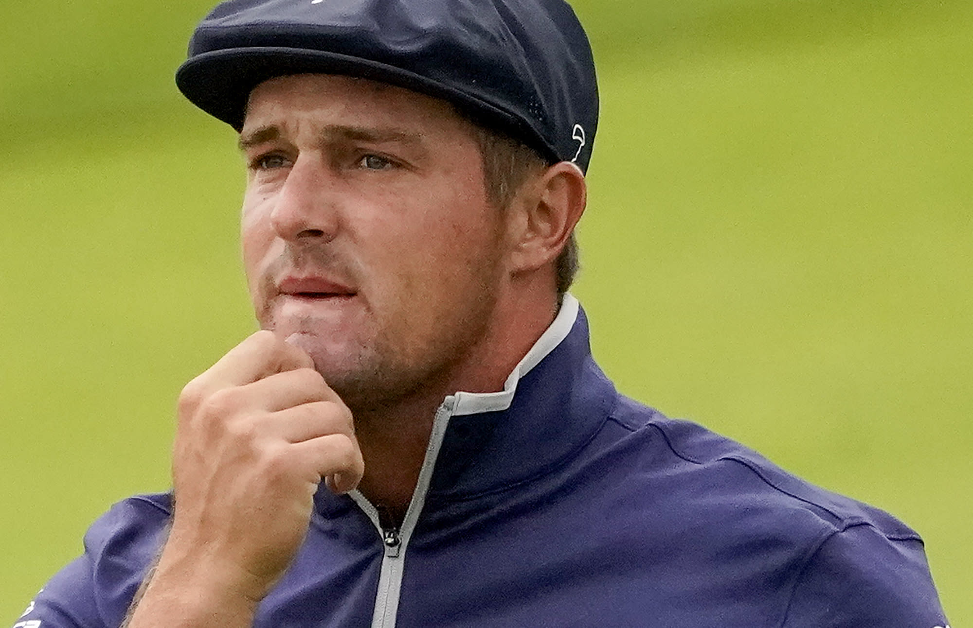 Bryson DeChambeau, of the United States, watches his shot off the 12th fairway during the second round of the US Open Golf Championship, Friday, Sept. 18, 2020, in Mamaroneck, N.Y. (AP Photo/Charles Krupa)