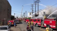 LAFD Engage Defensive Operations for Huge Warehouse Fire in Boyle Heights