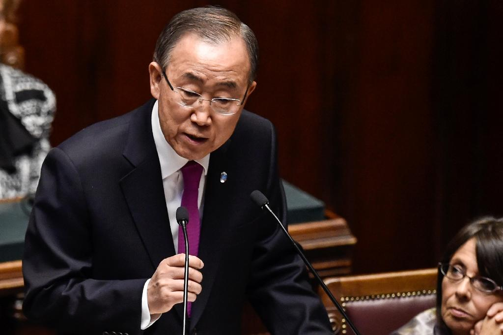 UN Secretary General Ban Ki-moon delivers a speech at the Chamber of Deputies in Rome on October 15, 2015