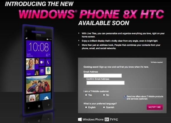 T-Mobile can't wait for November, adds Windows Phone 8X sign-up sheet to its site