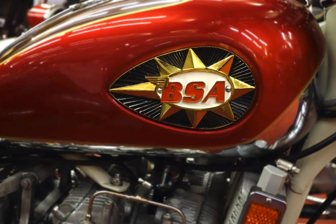 1971 motorcycle BSA A75R Rocket 3 Mark II tank emblem / badge. (Photo by: Arterra/Universal Images Group via Getty Images)