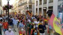 El comentado gesto de un joven en la protesta contra el Gobierno en Málaga: se ve en la imagen
