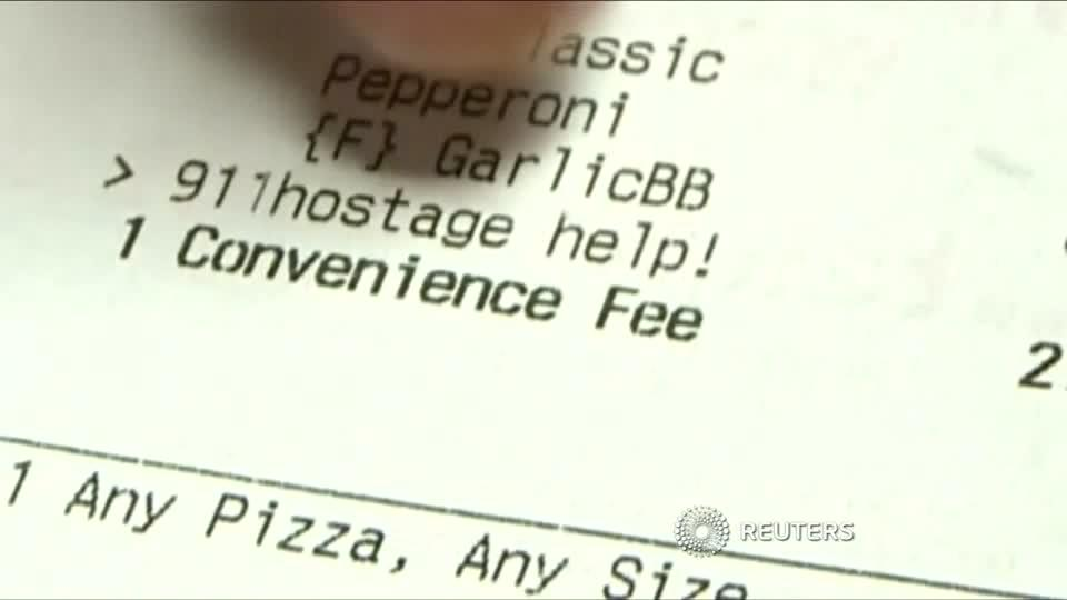 Hostage orders plea for help with pizza to go