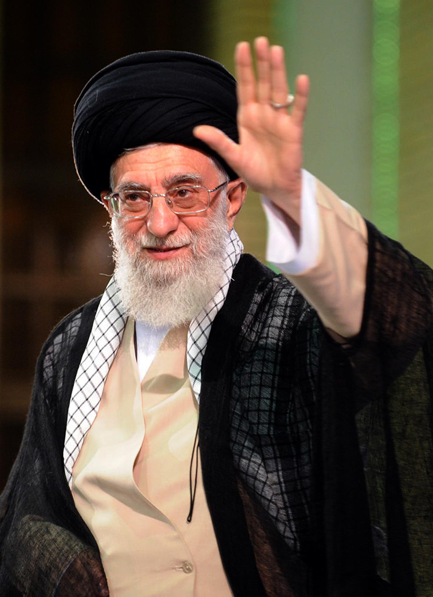 Ayatollah Ali Khamenei arrives for a meeting in Tehran on Sunday ahead of his prostate operation on Monday (AFP Photo/)