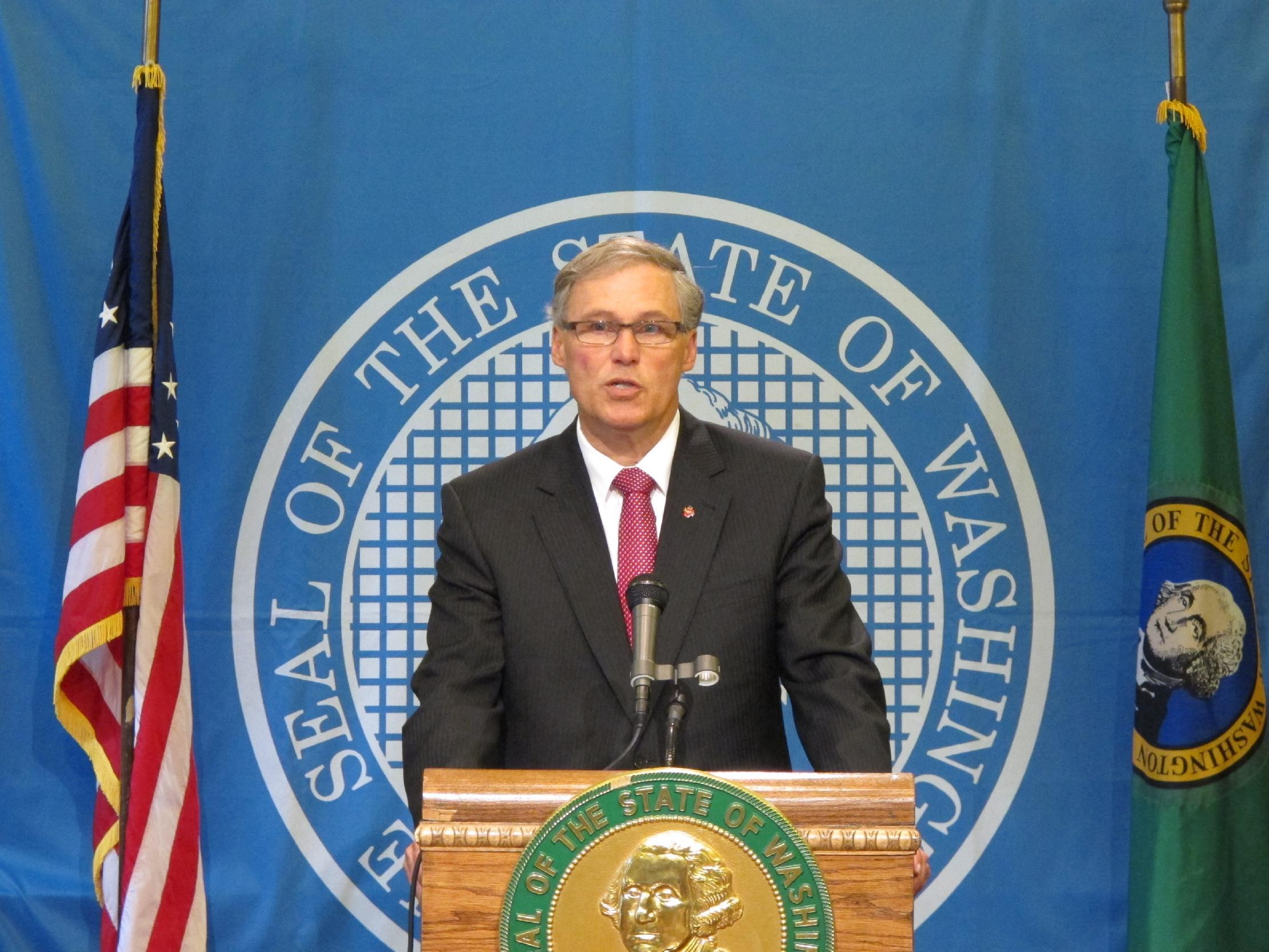 Washington state Gov. Jay Inslee answers questions about a potential leak in a tank at Hanford Nuclear Reservation, on Friday, June 21, 2013, in Olympia, Wash. Officials with the U.S. Energy Department have notified the state that an underground tank holding some of the worst radioactive waste at the nation's most contaminated nuclear site might be leaking into the soil. (AP Photo/Rachel La Corte)