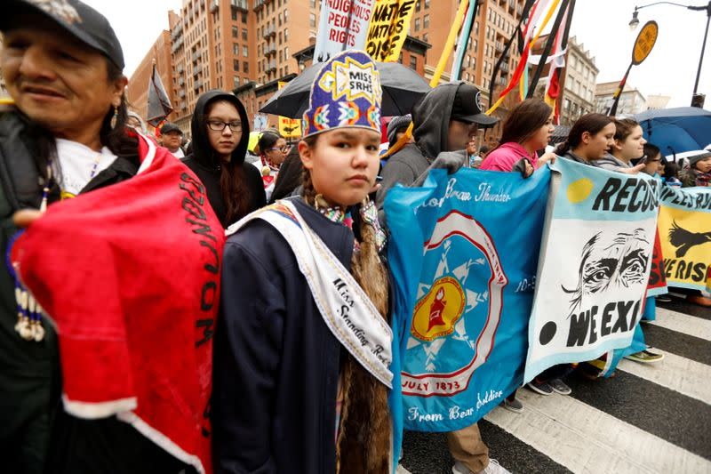 FILE PHOTO: Indigenous leaders participate in protest march and rally in Washington