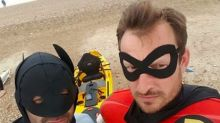Caped Dude Saver: Surfer Rescued By Batman And Robin