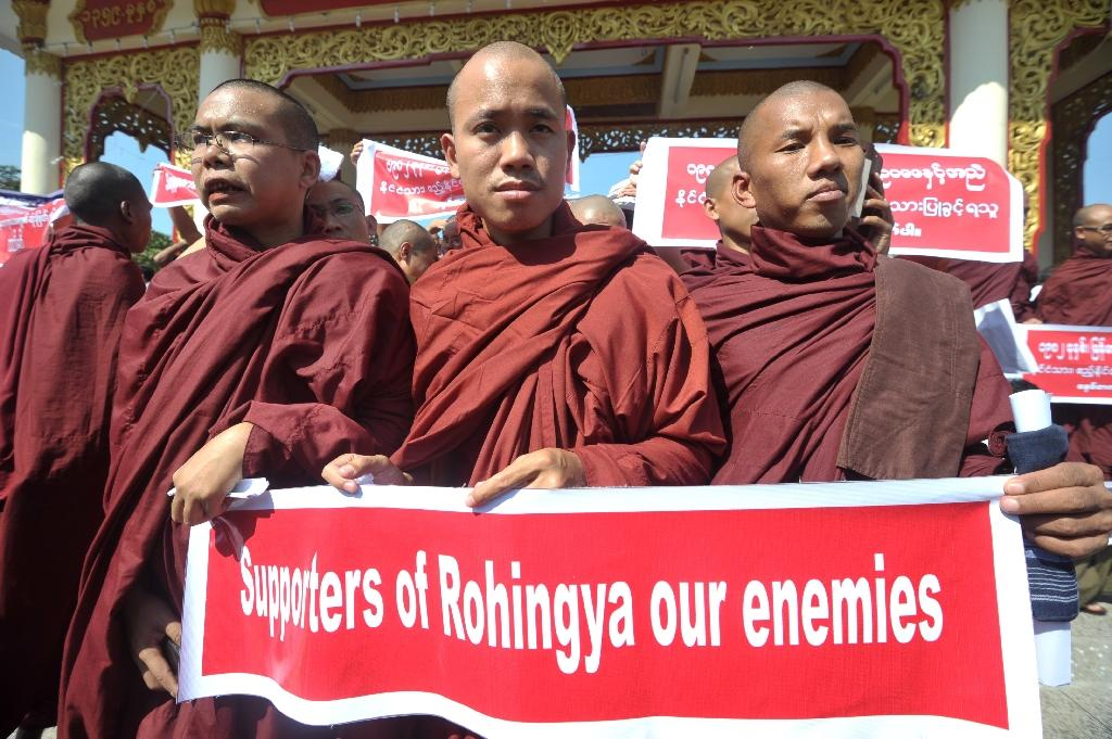 In Myanmar, ultra-nationalist monks have poured vitriol on the country's small Muslim population, cheering a military crackdown forcing nearly 700,000 Rohingya into Bangladesh (AFP Photo/SOE THAN WIN)