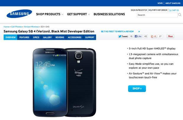 Samsung Galaxy S 4 Developer Edition for Verizon now shipping for $650