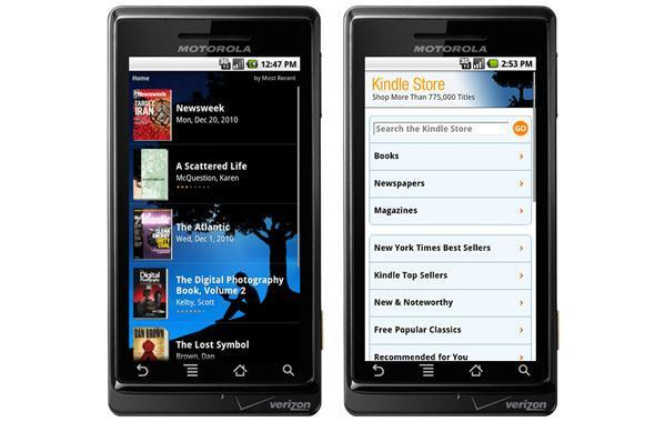 Kindle for Android updated with periodicals and integrated web store, can be installed on SD card